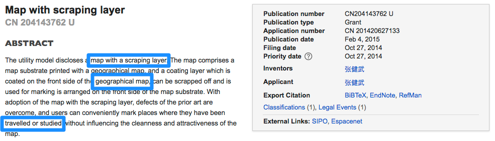 patent search for scratch map